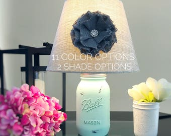 Mason Jar Lamp, Mason Jar Light, Hand Painted Lamp, Quart Mason Jar Lamp, Rustic Lamp, Mint Lamp, Farmhouse Lamp, Shabby Chic Lamp, Country