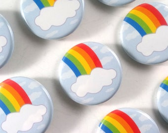 Rainbow Button (1.25 in) / Pin back Button / Lucky Pin / Small Gift
