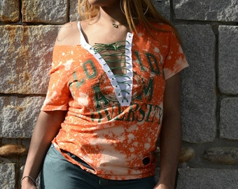 HBCU CLLCTN - Florida A&M University Orange Green Bleached Off-Shoulder Distressed Lace Up Tee