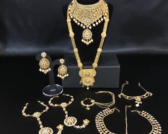 Indian Bridal Set - Kundan Antique Gold Bridal Set - Indian Wedding Bridal Set - Indian Jewelry Set - Pakistani Bridal Set - Bollywood -