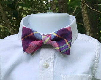 Purple & Hot Pink Plaid Bow Tie, Boys Plaid Bow Tie, Toddlers Adjustable Bow Tie, Plaid Bow Tie, Baby Boy Plaid Bow Tie, Toddlers Plaid Tie