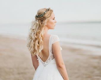 Open back wedding dress, Bohemian Wedding Dress, Backless Wedding Dress, Short Sleeves Wedding Dress, Low Back Wedding Dress, Lace Dress