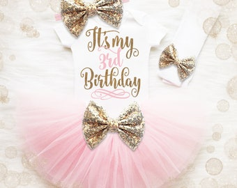 3rd Birthday Outfit Girl | 3rd Birthday Shirt Girl | Pink And Gold Birthday Outfit | 3rd Birthday Tutu Set | Girl 3rd Birthday Tutu Set