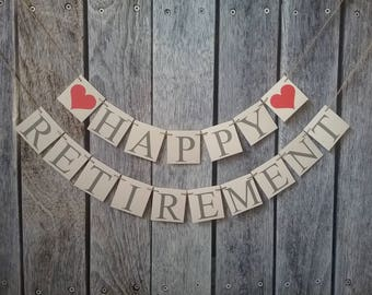 HAPPY RETIREMENT banner, retirement sign, retirement ideas, retirement party decorations, happy retirement ideas, retire ideas, choose color