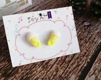 Stud Polymer Clay , Sneakers Earrings , Fluorescent Yellow Earrings , Little Stud earrings , Perfect gift , Cute Earrings