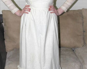 Vintage 70's Ivory Lace LANZ OIGINAL Dress - All Ivory White Made of Lace and Cotton size 6/8 M Hippie Boho Festival Wedding Maxi Dress