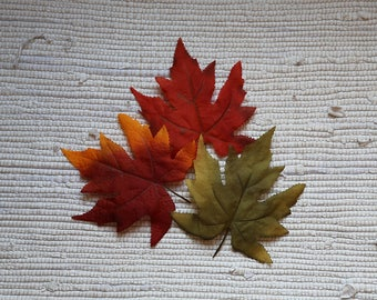 Set of 3 autumn maple leaves. Autumn realistic maple orange green yellow leaf for floral ornaments, floristic design, for making wreath