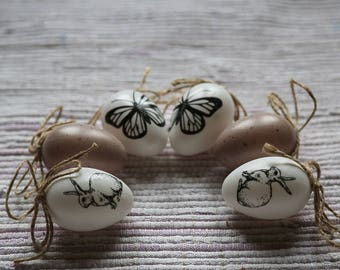 Easter eggs with bunny and butterfly. Easter tree ornaments, home decor, Easter gift