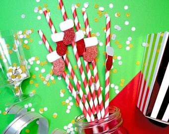 24 Christmas Stocking Straws, Christmas Paper Straws, Holiday Straws, Festive Straws, Christmas Party, Christmas Decor, Christmas Toppers