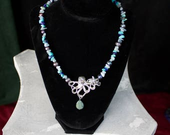 Octopus Starfish Silver/Pearl/Turquoise/ Lapis Lazuli Neclace