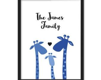 Giraffe Family Name Custom Bespoke Print