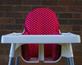 IKEA High Chair Cover To Fit Antilop Pyttig Cushion Insert - First Birthday Highchair Decor - Pear of Stitches - Pink & White Stars