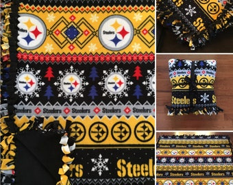 LARGE Pittsburgh STEELERS Handmade Fleece Tie Blanket | 55x65 | Nfl Football |Christmas Snowflake | Fair Isle | Steelers Home Decor