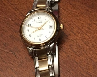 Timex Ladies Watch - Indiglo WR 50M - Two Tone - Silver and Gold Tone Band - New Battery