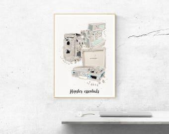 Poster poster graphic design illustration Hipster essentials