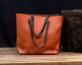 Large Leather Tote Personalized Carryall - Women Work Bag - Laptop Bag - Leather Shoulder Bag - One Piece Leather Office Bag - Shopping Bag