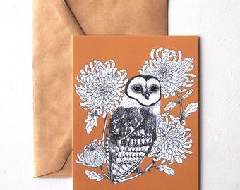 owl postcard, owl card, flower stationery, owl print, chrysanthemum card, a6 bird print, elegant stationery, vintage color, for her