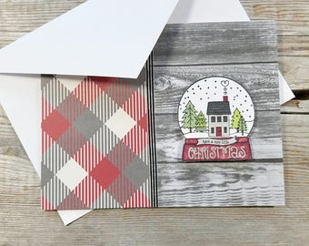 Christmas Card Rustic - Rustic Greeting Cards - Christmas Card Plaid - Christmas Card Wood - Rustic Holiday Cards - Snow Globe Christmas