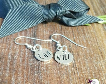 925 Sterling Silver Drop Earrings, Silver Dangly Earrings, Gifts For Her, Hand Stamped Jewellery, I Can and I Will,