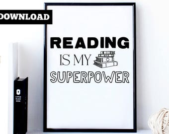 Funny bookworm print - Reading is my superpower - Bookworm birthday gift - Reading print - Art print for readers - Librarian art print