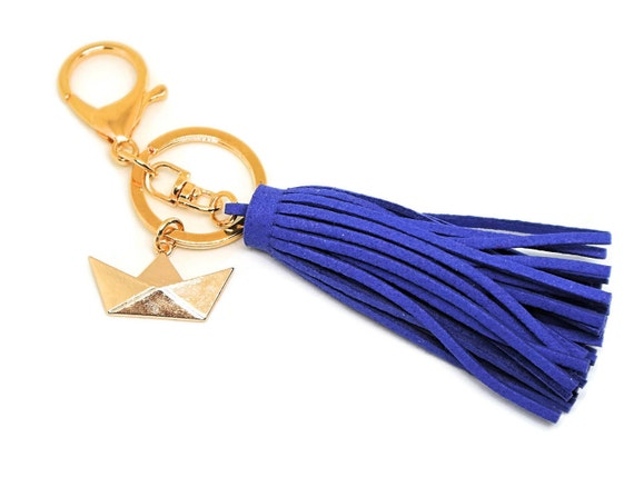 Paper Boat Keychain - Keychain with clip - Tassel Keychain - Housewarming Gift - Moving Gift - Gift for New Home - Origami boat - Key ring