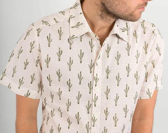 Mens 100% Cotton Short Sleeve Slim Fit Shirt White Cactus Desert Green Print Lightweight Material