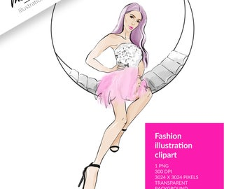 FASHION ILLUSTRATION CLIPART, sketch girls, chic clipart, girl clipart, stickers, party clipart, pink hair clipart, dress clipart, digital