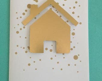 """Gold congratulations card, gold and white, confetti, 8.5""""x5.5"""" wedding, engagement, new house, new car, new baby, graduation, keys"""