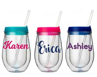 Personalized Wine Tumbler, Bev2Go Wine Tumbler, Monogrammed Tumbler, Wine Cup With Straw