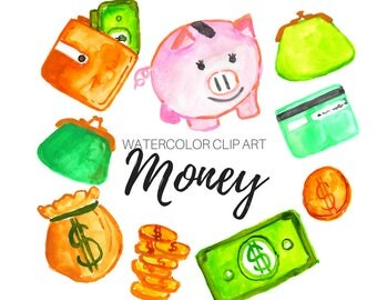 Watercolor clip art -Money clip art - shopping clip art - Commercial Use