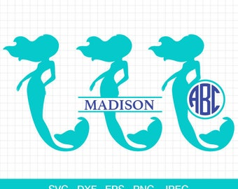Mermaid Svg, Birthday Mermaid Svg, Mermaid Monogram Svg, Mermaid Svg Files, Split Mermaid Svg, Split Monogram Svg, Circle Monogram Svg.