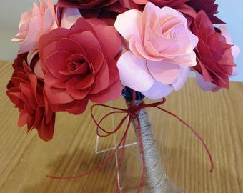 Rose Red and pink paper Bouquet