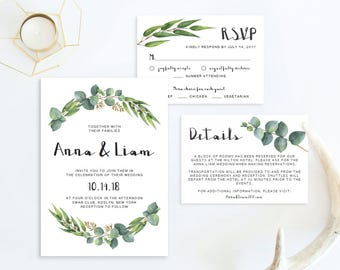 Garden Wedding Invitation Suite Template Download Nature Wedding Invitation Forest Wedding Outdoor Wedding Foliage Wedding Green Leaves PDF