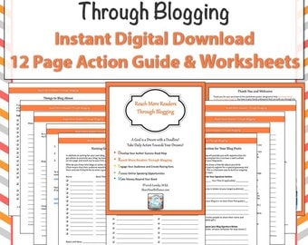 Worksheet Pages - Blogging for Authors - Digital Download - Reach Readers Through Blogging - Workseets and Checklists