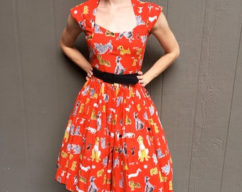 Vintage-Inspired Puppy Print Fit and Flare Dress (with Sweetheart Neckline!)