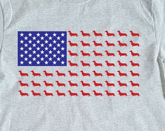 Men's Dachshund Stars and Stripes American Flag Fourth of July Patriotic T-shirt Design