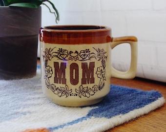 Vintage 1970's Retro Mom Mug, Brown Glazed Stoneware, Vintage Mug, Ceramic Coffee Cup, Collectible Mug, Mom Gift, Mom Coffee Cup