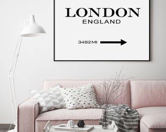 London Prada Marfa Poster, London Sign, Motivational Modern Print, Fashion Print, London Printable, Typography Black and White, London