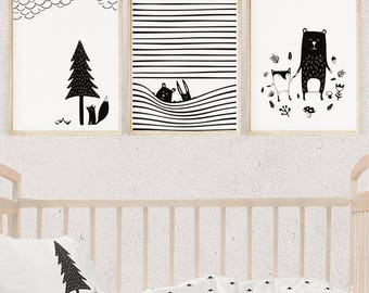 Modern Nursery Wall Art Set Of 3, Woodland Animals Set, Nursery Set Print,