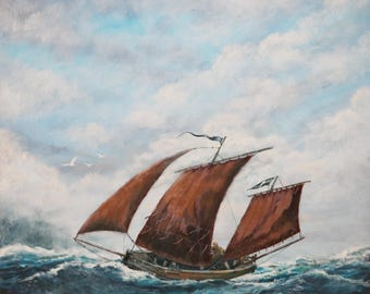 Original painting of a sailing boat off Cornwall; a Cornish lugger; original artwork, acrylic on canvas; seascape; nautical painting; ship