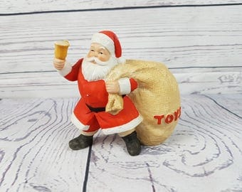 Vintage Santa Claus Porcelain Candle Holder Christmas Toys Winter Retro December Decoration Decor Happy Holidays North Pole Made in Korea