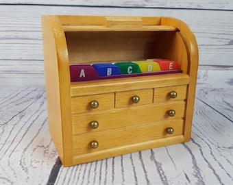 Vintage Wood Recipe Box Secretary Desk Replica Container Kitchen Decor Prop Card Box Alphabetized Storage