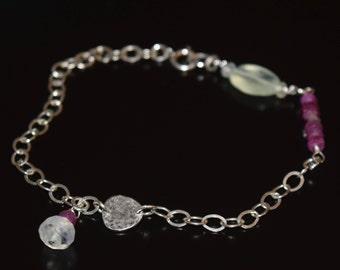 Ruby and Prehnite Bracelet~ Energy Bracelets~ Sterling Silver Stacking Bracelets~