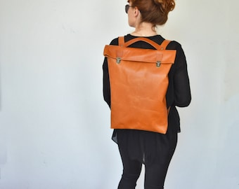 17' Leather Backpack/ Leather Rucksack/ Messenger/ Laptop/MacBook/ Unisex/ Brown/ Chocolate / Minimalist/ Rugzak/ Back to school/ Office bag