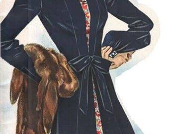 """Vintage 1939 coat pattern for 38"""" bust size."""