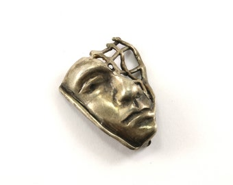Vintage Theater Mask Pin/Brooch 925 Sterling BB 149-E