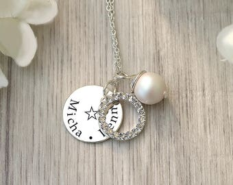 Name plate Necklace - Personalized Gift for Mom - Custom jewelry for Mommy - Sterling silver Necklace - Charm necklace - Christmas in July