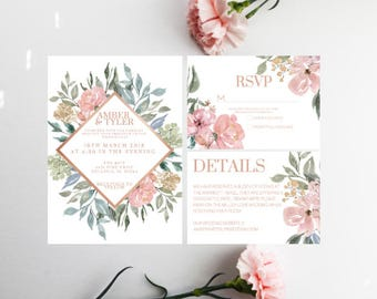 PRINTED Floral Wedding Invitation, Spring Wedding invitation, Floral Wreath, RSVP, Envelopes, Wedding Bundle, Neutral Wedding, Minimal
