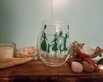 Witches And Cats Dancing | Halloween Wine Glass | Witch Wine Glass | Halloween Gift | Funny Wine Glass | Witchy Glass | Stemless Wine Glass