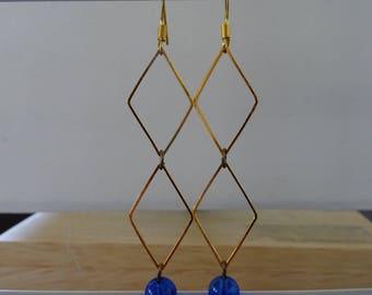 Geometric gold long EARRINGS